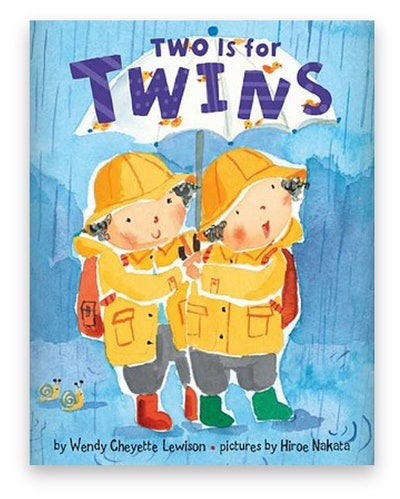 Illustrated Book Cover; two twin brothers standing in the rain, wearing raincoats and boots