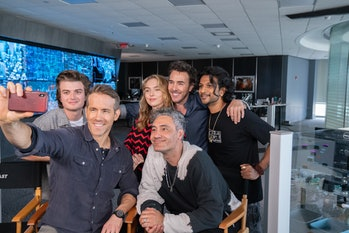 Shawn Levy with the cast of Free Guy.