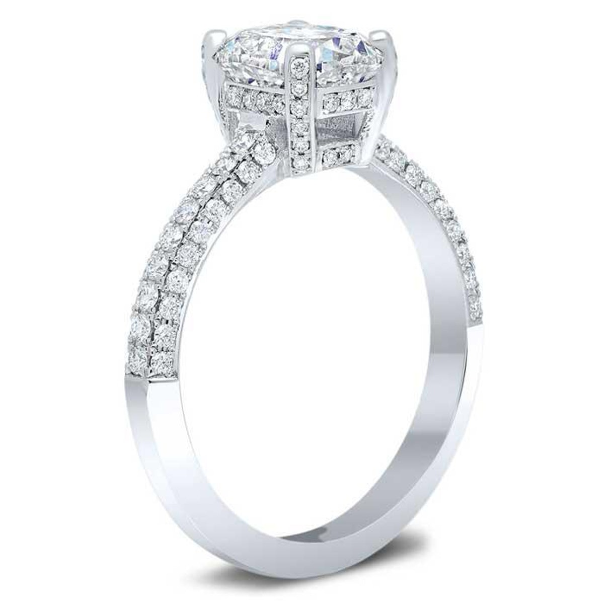 deBebians' 3 sided pave engagement ring with a pave basket and hidden halo.