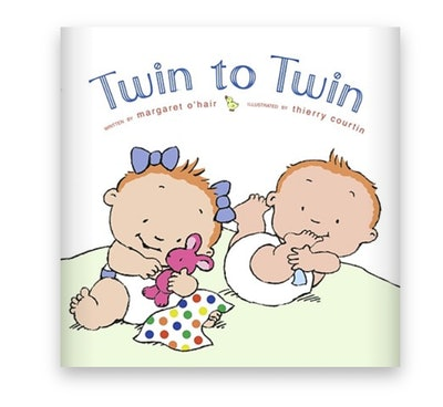 Illustrated book cover; twin babies (one boy one girl) playing on the floor together
