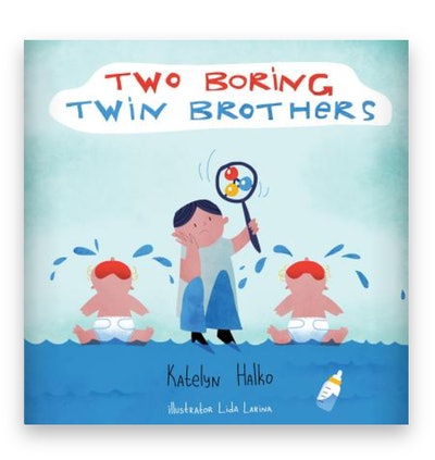 Illustrated book cover; boy holding a rattle, standing between two crying babies