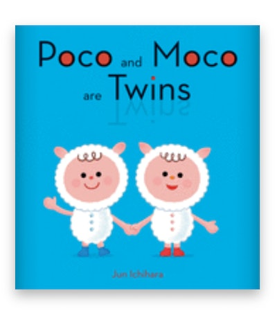 Illustrated book cover; twin boys in sheep costumes, holding hands