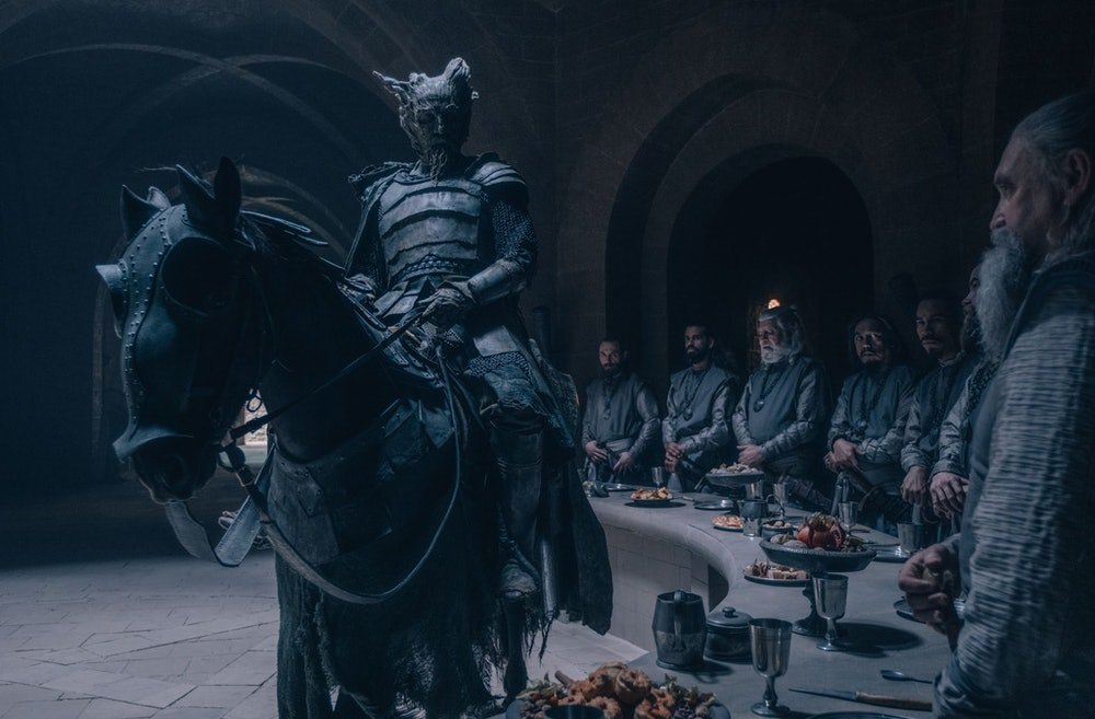 Ralph Ineson making his entrance as the titular figure in The Green Knight
