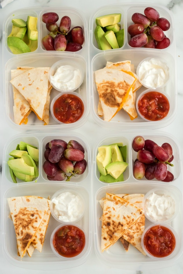 cheese quesadilla lunch box with dips and fruit
