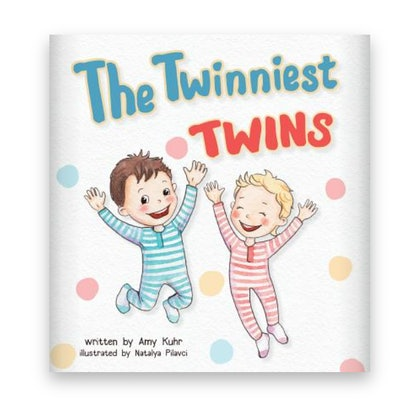 Illustrated book cover; two twin boys in footie pajamas jumping up and down