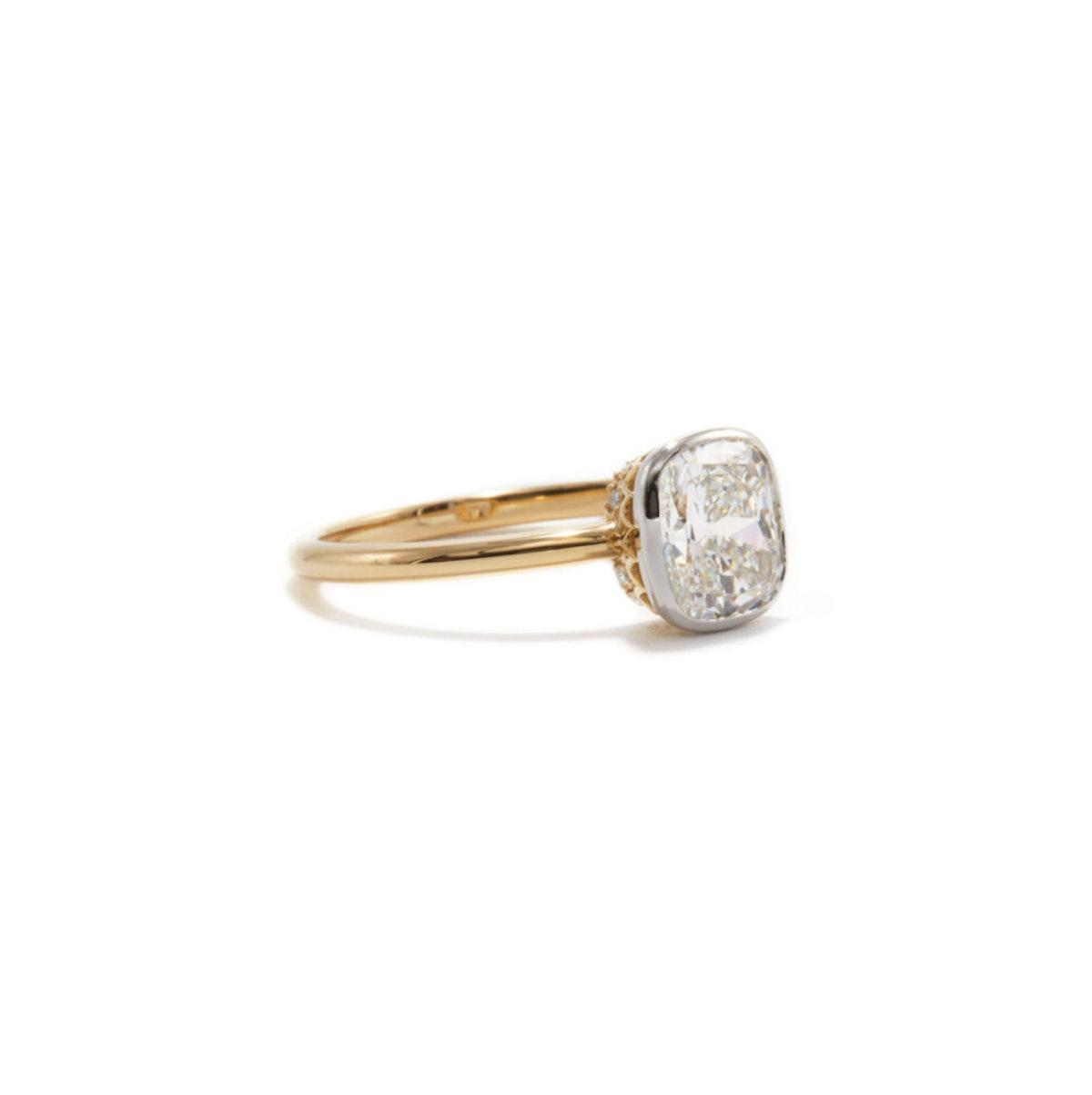 Ashley Zhang's 1.5 carat Aurora cushion cut engagement ring.
