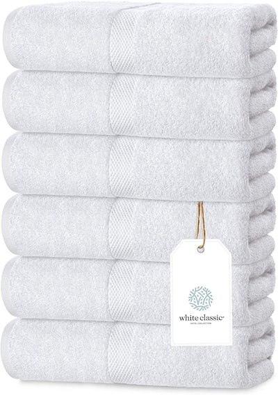 White Classic Luxury White Hand Towels (Set of 6)