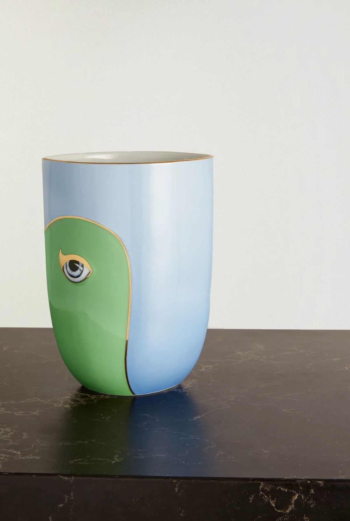Lito Gold-Plated Porcelain and Resin Vase