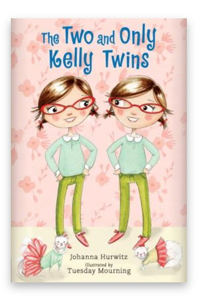 Illustrated book cover; two twin girls in glasses standing next to each other, looking at the other,...