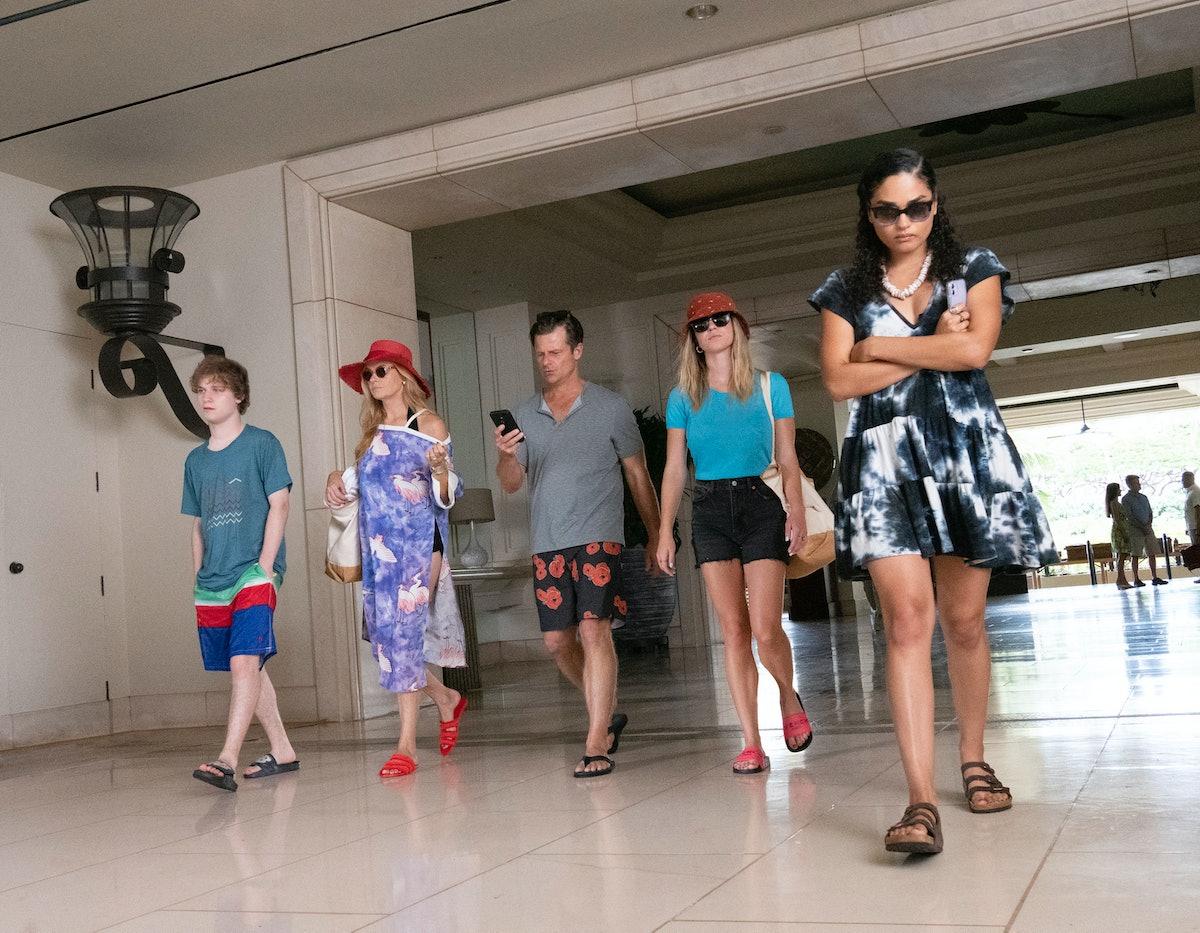 Mossbacher family walking in resort