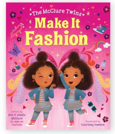 Illustrated book cover; twin sisters posing, wearing fashionable outfits