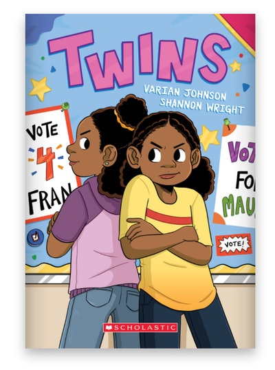 Illustrated book cover; twin sisters with their backs to each other and arms crossed