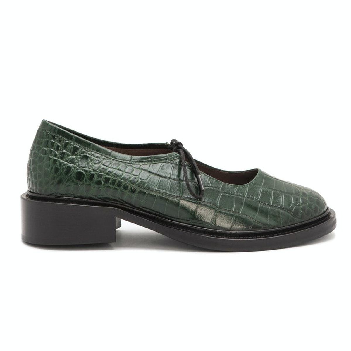Nicole Saldaña Fabiana Jungle Green Embossed Croc Shoe