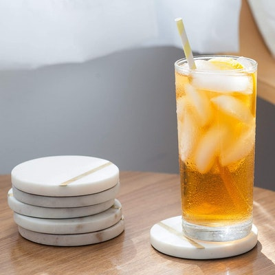 Cork & Mill Marble Coasters for Drinks (Set of 6)