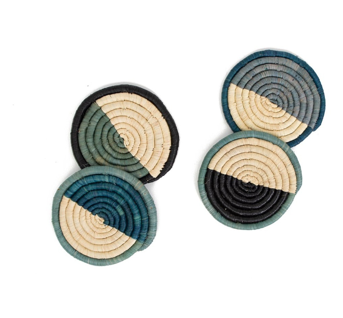 Cool Color Blocked Dipped Raffia Coasters, Set of 4