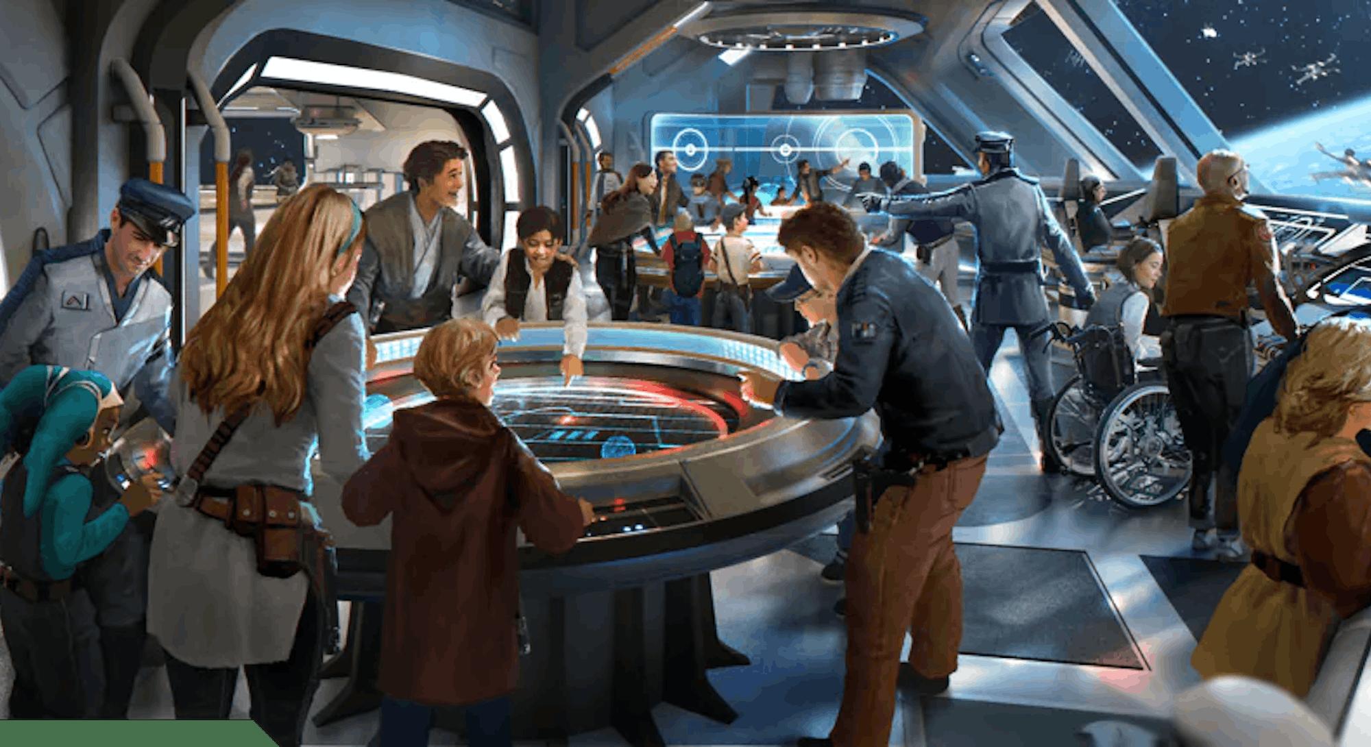 concept art of spaceship bridge from Star Wars: Galactic Starcruiser