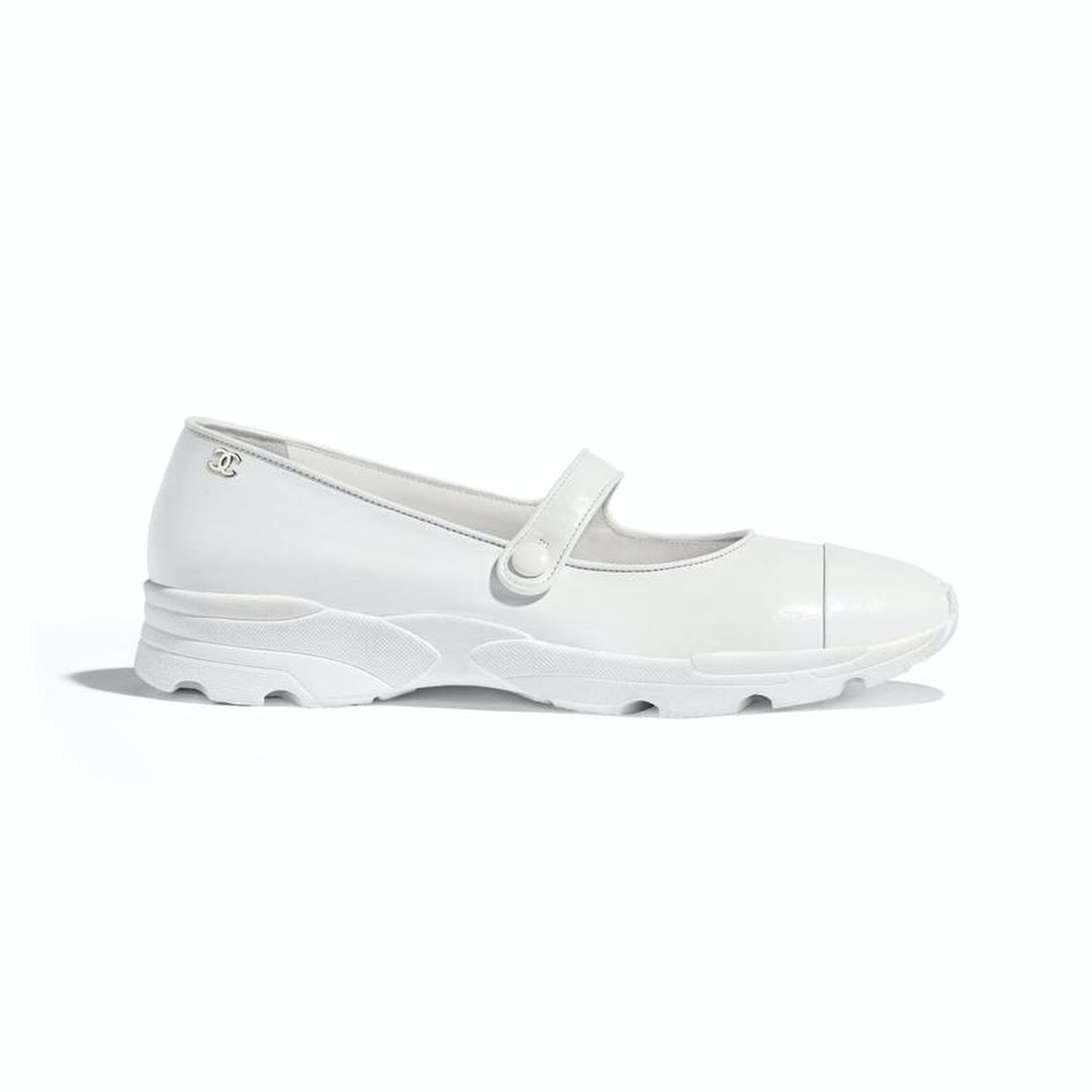 Chanel White Calfskin Leather Mary Jane Flats
