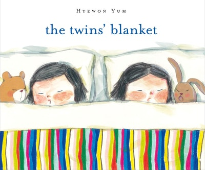 Illustrated book cover; two twins sleeping in bed, sharing blanket