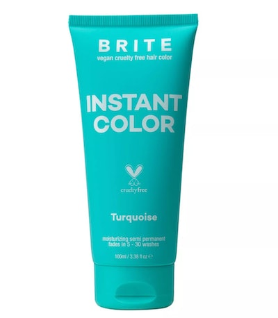 Product photo; teal bottle of temporary hair color