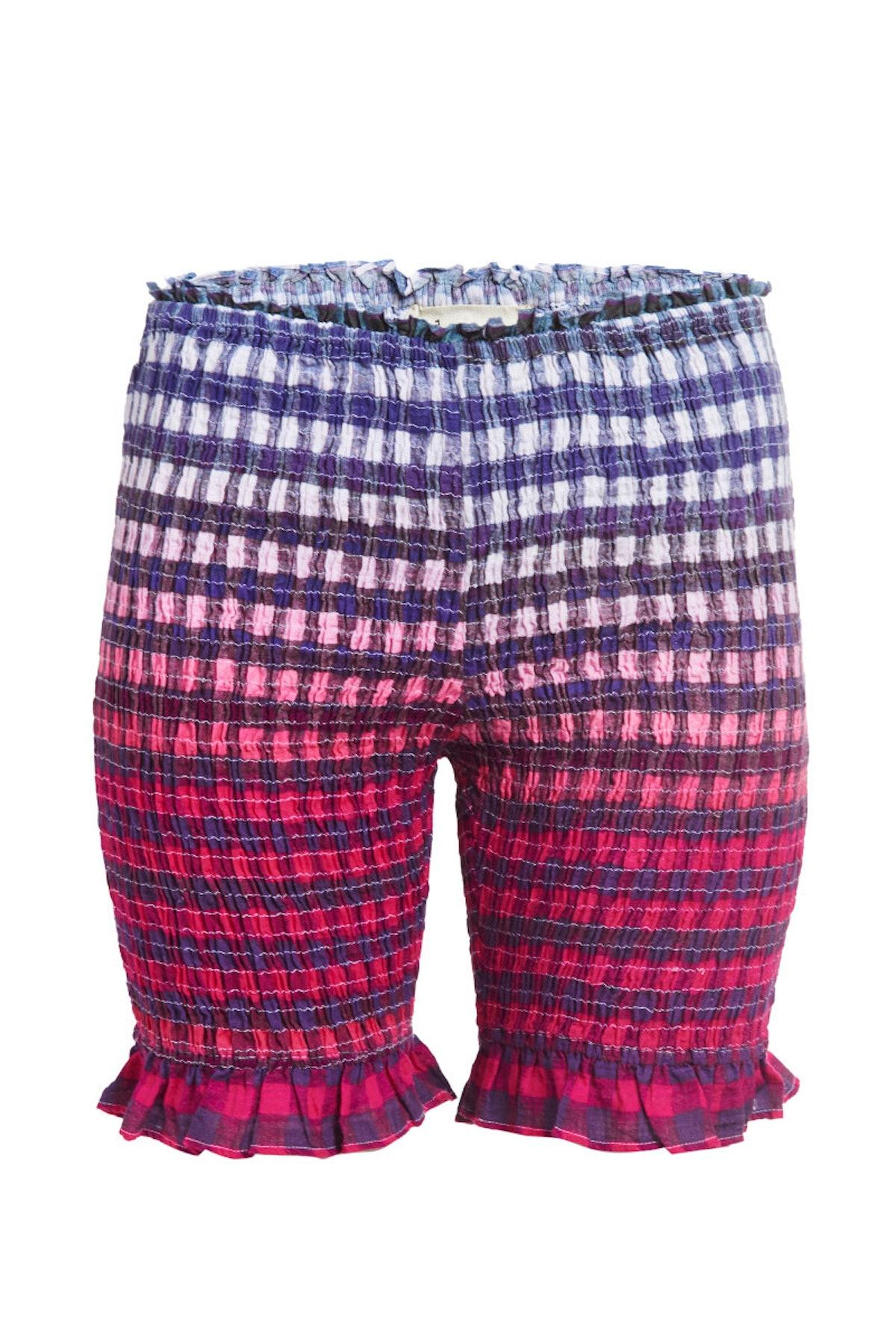 abacaxi Smocked Gingham Biker Shorts