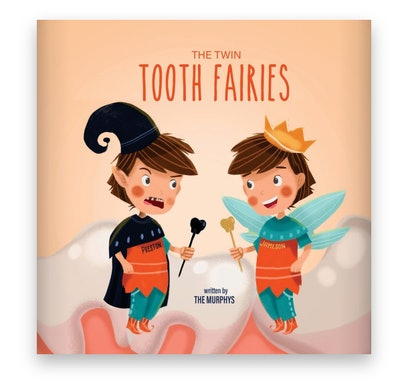 Illustrated book cover; two tooth fairies in different outfits, who are also twins