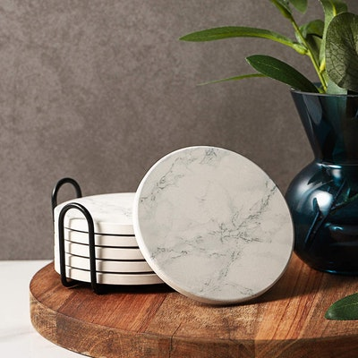 LIFVER White Marble Coasters with Holder (Set of 6)