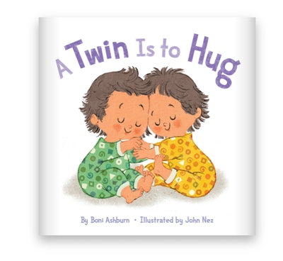 Illustrated book cover; two toddler twins hugging