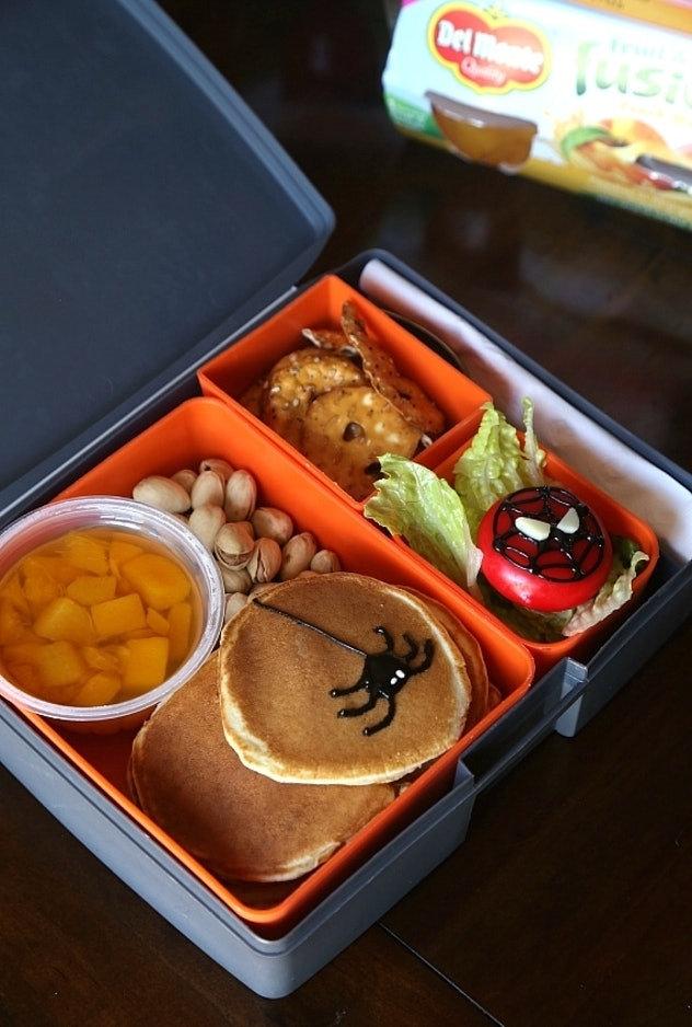 Spiderman theme lunch box with pancakes