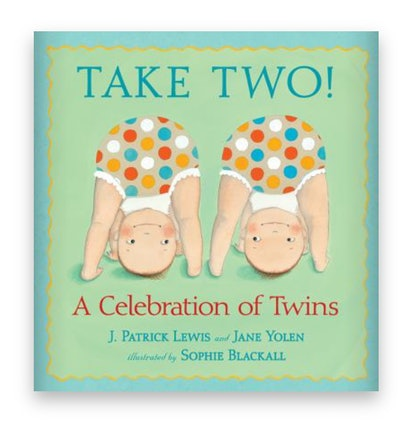Illustrated book cover; two twin babies with their diapers in the air and faces peeking through thei...