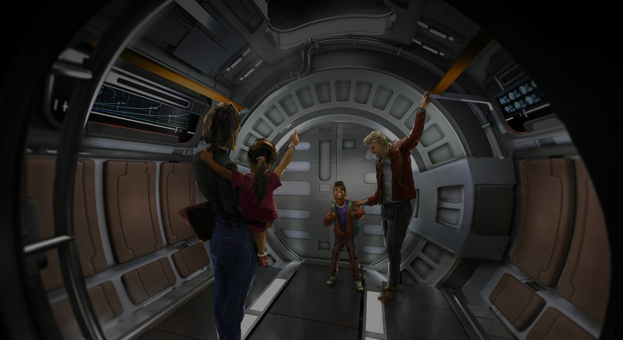 concept art of spaceship hallway from Star Wars: Galactic Starcruiser