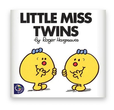 Illustrated book cover; two happy faces (with legs and arms) as twins laughing with each other