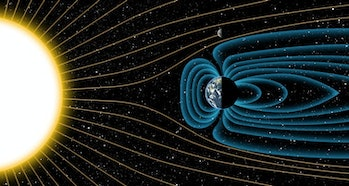 Earth's magnetic shield blocks solar wind, whereas the lack of a magnetic field on the Moon allows t...