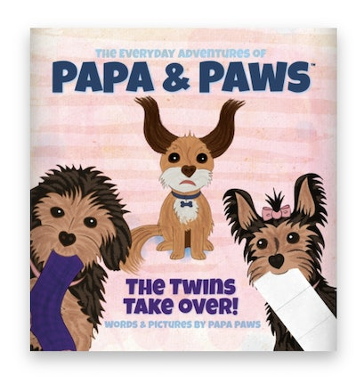 Illustrated book cover; three dogs looking forward as if they've been caught in the act of shenaniga...