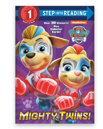 """Illustrated book cover; twin dogs from the kid's show """"Paw Patrol"""""""