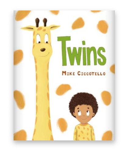 Illustrated book cover; giraffe from the neck up, standing next to little boy, both looking at each ...
