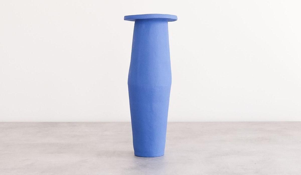 B Zippy Tall Saucer Vase: Klein Blue