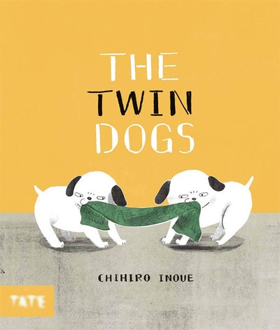 Illustrated book cover; two dogs playing tug-o-war with a green blanket