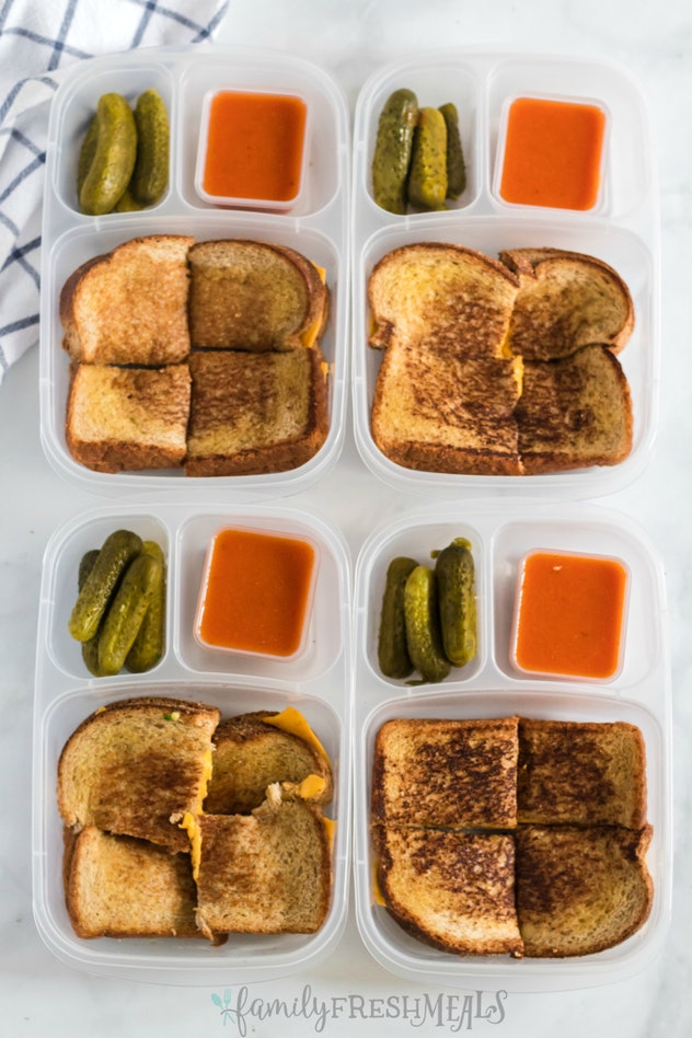 grilled cheese with pickles and soup