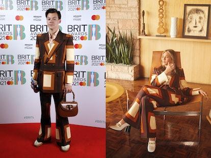 Harry Styles and Jennifer Aniston wear matching Gucci suits.