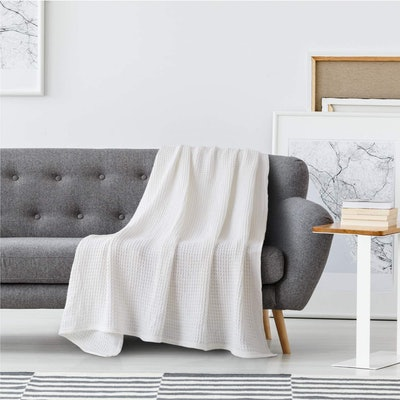 Bedsure 100% Cotton Waffle Weave Blanket