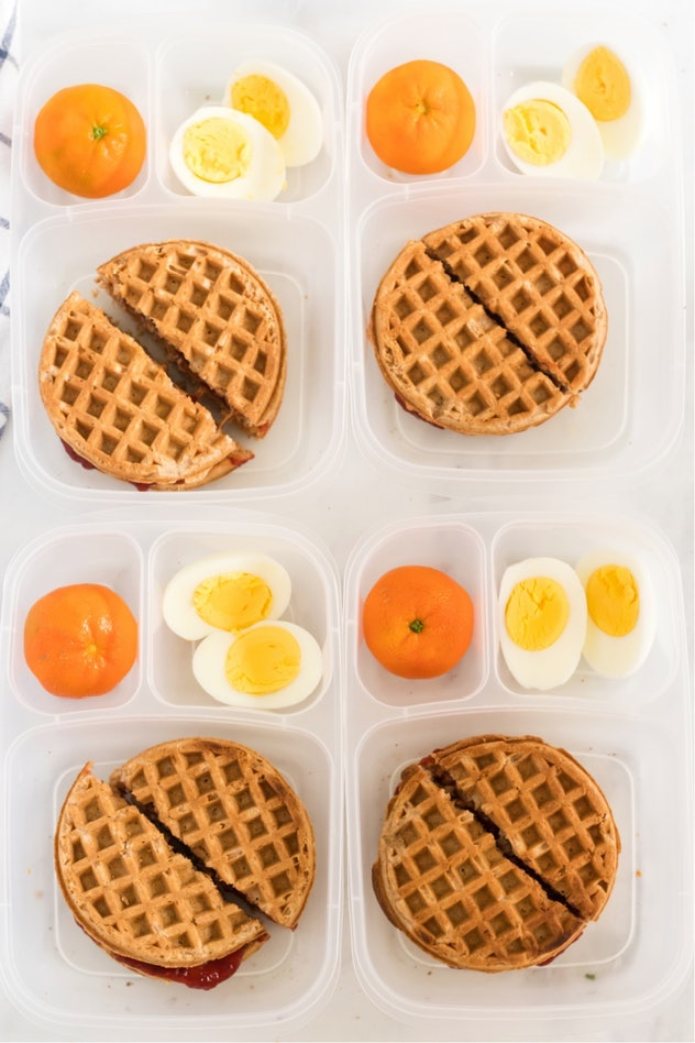 waffle sandwich lunch box with an orange and egg