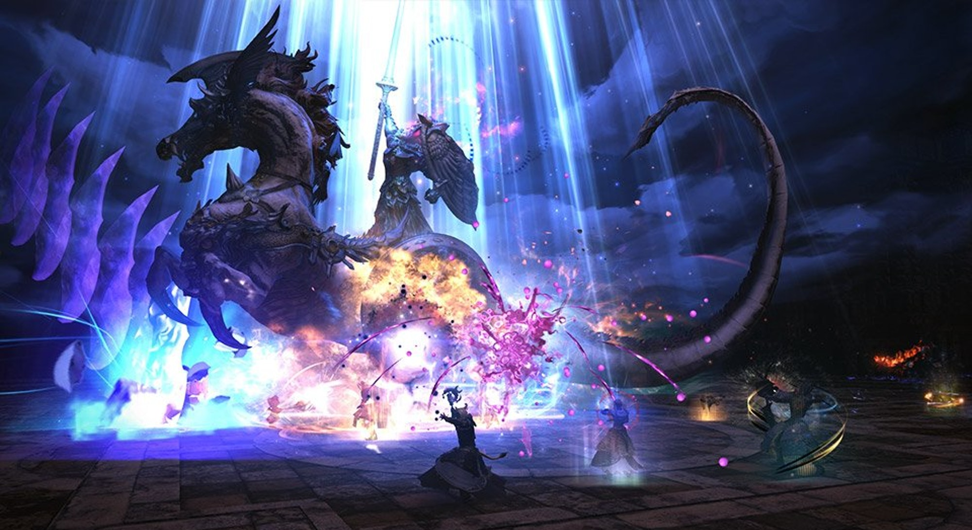 players fighting boss on chariot from Final Fantasy 14