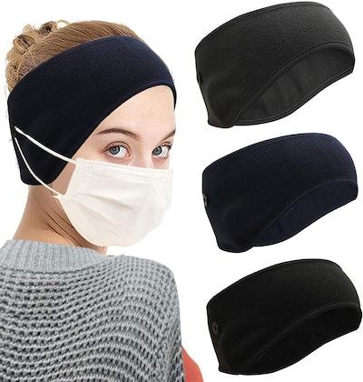 Umeepar Winter Fleece Button Headband (3-Pack)
