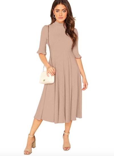 Verdusa Ribbed Knit Midi Dress