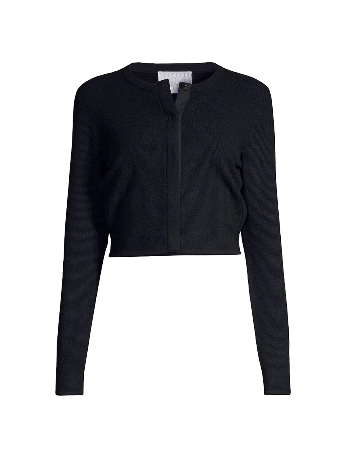 Black ribbed merino wool cardigan from VICTOR GLEMAUD, available on Saks Fifth Avenue.