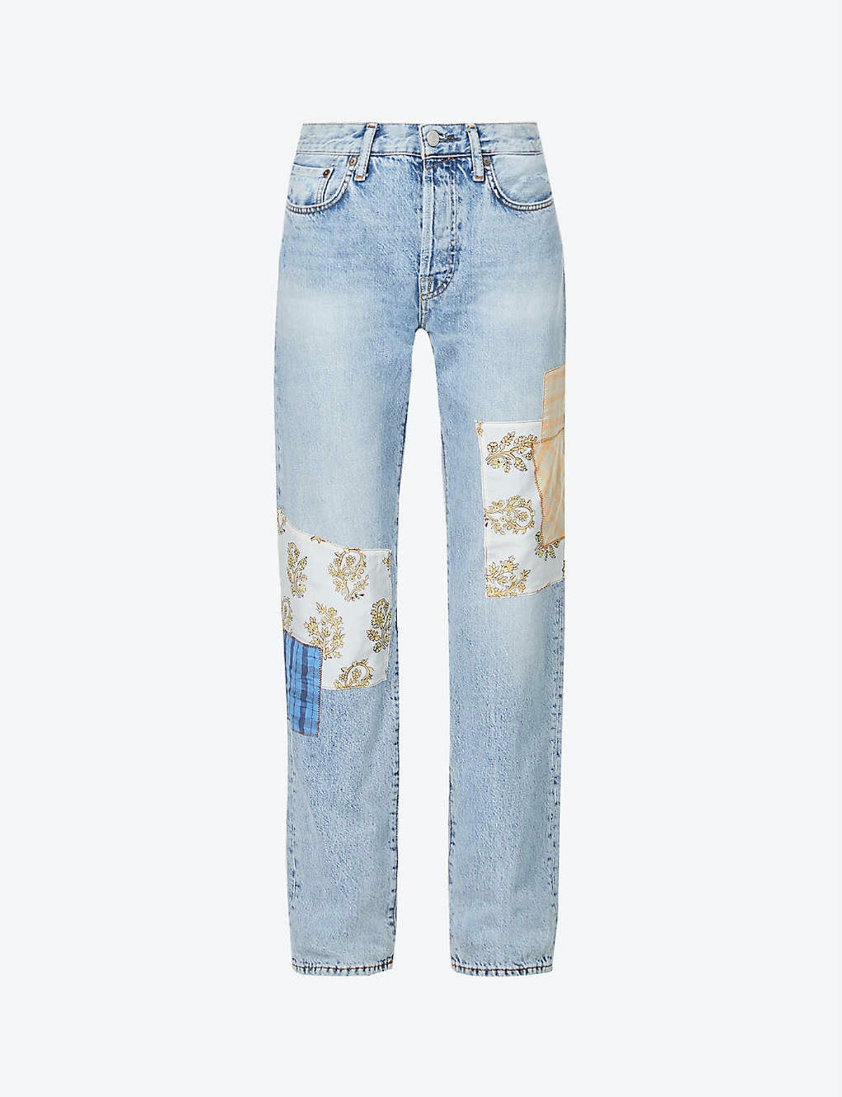 Pari high-rise regular-fit straight upcycled-denim jeans from Acne Studios, available via Selfridges...