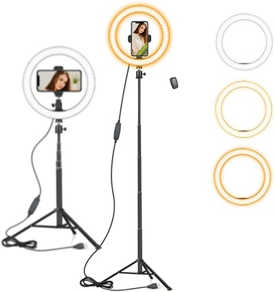 """AIXPI 10"""" Ring Light with 59"""" Extendable Tripod Stand & Phone Holder"""