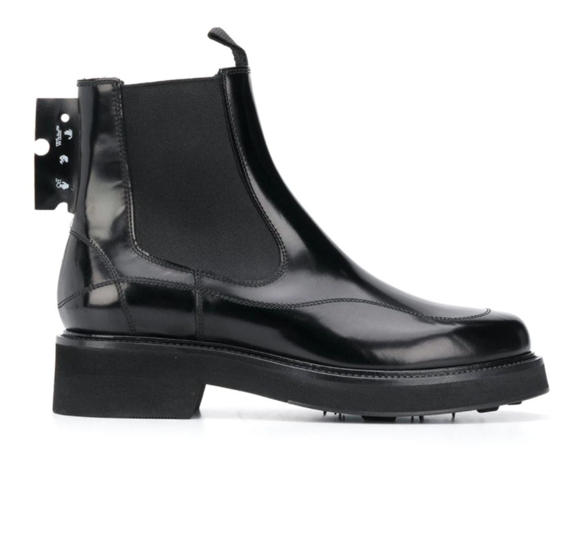 Off-White's logo patch chelsea boots in black.