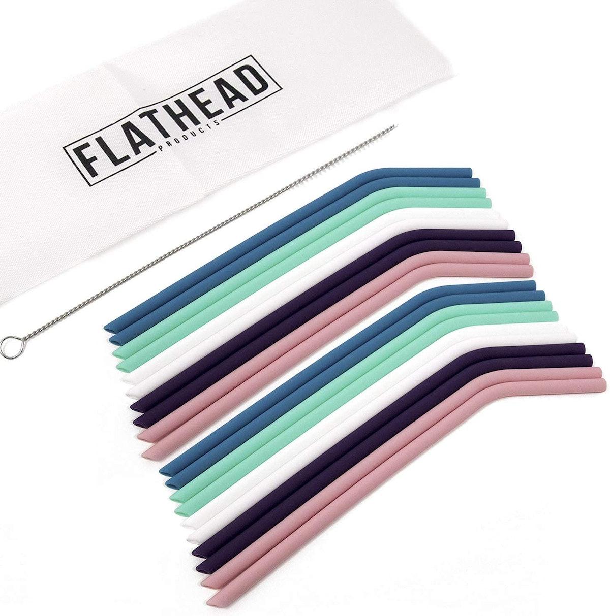 Flathead Reusable Silicone Straws (20-Pack)