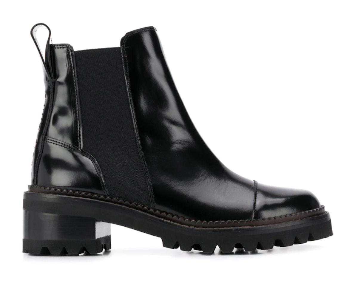 Chloé black leather chelsea boots.